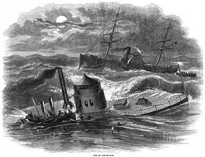 Photograph - Civil War: Monitor Sinking by Granger