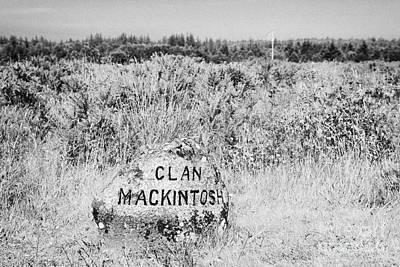clan mackintosh memorial stone on Culloden moor battlefield site highlands scotland Art Print by Joe Fox