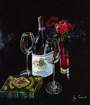 Italian Wine Painting - Classic Barolo With Poetic Works by James Scrivano
