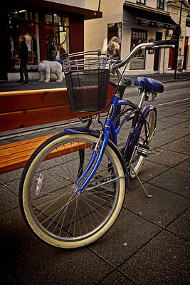 Park Benches Photograph - Classic Blue Schwinn Bike by Sven Brogren