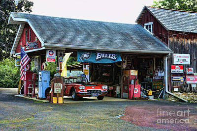 Texaco Wall Art - Photograph - Classic Corvette At The Garage. by Paul Ward