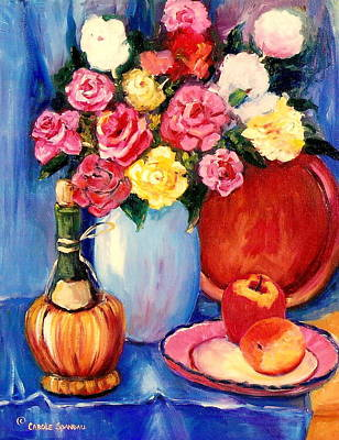 Painting - Classic Floral Still Life With Wine Bottle And Roses by Carole Spandau