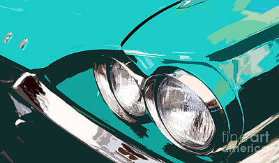 Abstract Realism Digital Art - Classic Ford Thunderbird by Glennis Siverson