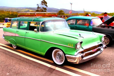 Photograph - Classic Green Chevrolet Stationwagon . 7d15213 by Wingsdomain Art and Photography