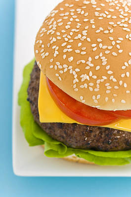 Photograph - Classic Hamburger With Cheese Tomato And Salad by U Schade