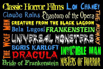 Frankenstein Digital Art - Classic Horror Films by Jaime Friedman