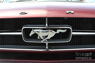 Domestic Cars Photograph - Classic Red Ford Mustang Emblem 7d15253 by Wingsdomain Art and Photography