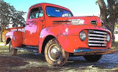 Classic Red Truck Art Print by Rebecca Brittain
