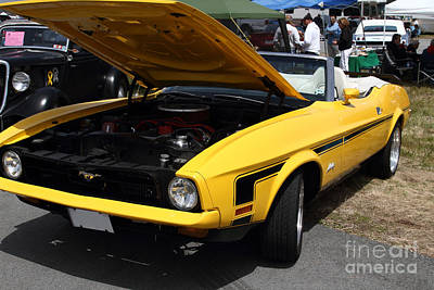 Domestic Cars Photograph - Classic Yellow Ford Mustang Convertible 7d15279 by Wingsdomain Art and Photography