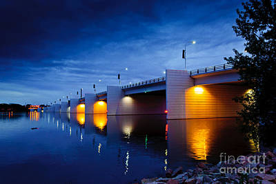 Photograph - Claude Allouez Bridge At Nightfall by Mark David Zahn