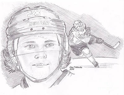 Drawing - Claude Giroux by Chris  DelVecchio