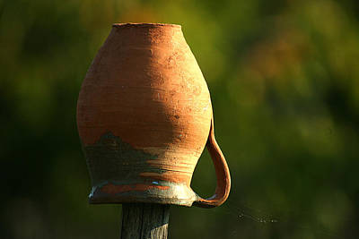 Photograph - Clay Jug And Spiderweb by Emanuel Tanjala