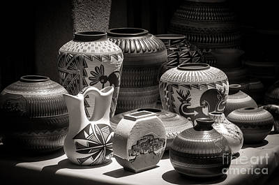 Photograph - Clay Pots Black And White by Sherry Davis