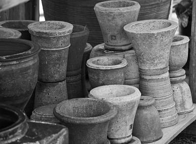 Fired Clay Photograph - Clay Pots Bw by Teresa Mucha
