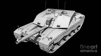 Challenger Digital Art - Clay Render Of A Challenger II Tank by Rhys Taylor