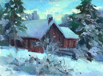 Snow Scenes Painting - Cle Elum Cabin by Diane McClary