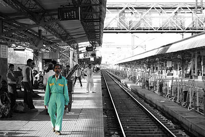 Cleaner At The Train Station Print by Sumit Mehndiratta