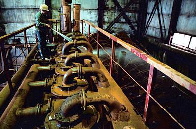 Cleaning Gold Mining Equipment Art Print by Ria Novosti