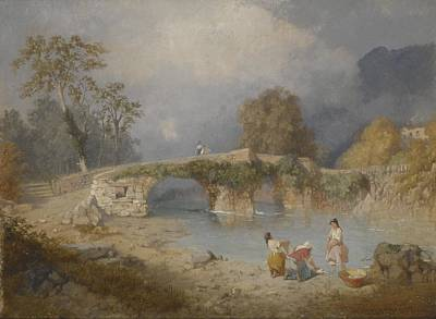Laundry Painting - Clearing Up For Fine Weather Beddgelert North Wales 1867 by James Baker Pyne