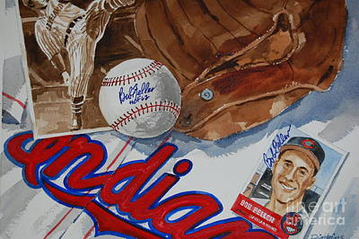 Cleveland Indians Painting - Cleveland Legend Bob Feller by Bill Dinkins