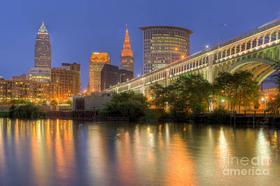 Photograph - Cleveland Night Skyline I by Clarence Holmes