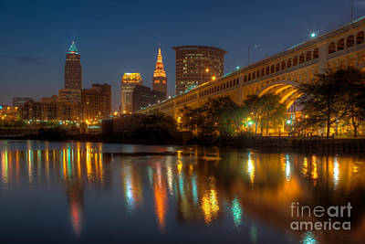 Photograph - Cleveland Skyline Morning Twilight I by Clarence Holmes