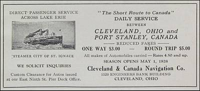 Clevland Canada Navigation Co Ca 1931 Art Print by  Clevland Ohio Port Stanley