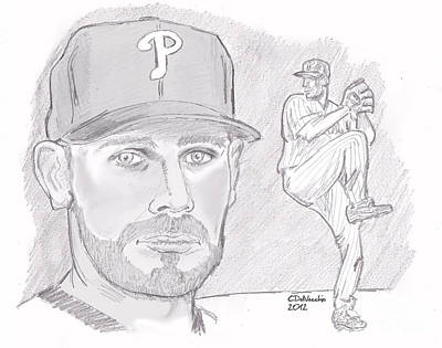 Print featuring the drawing Cliff Lee by Chris  DelVecchio