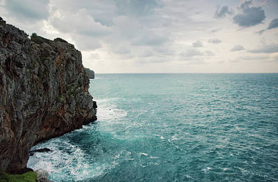 Cliff Line And Stormy Mediterranean Sea Art Print by Guido Mieth