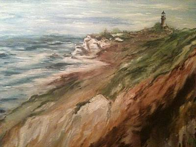 Art Print featuring the painting Cliff Side - Newport by Karen  Ferrand Carroll