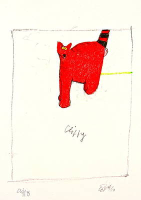 Colored Pencil Abstract Drawing - Clifford The Dog Its Not But Cliffy The Cat It Is by Cliff Spohn