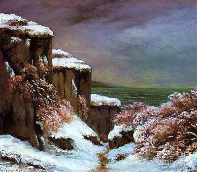 Painting - Cliffs By The Sea In Snow by Pg Reproductions