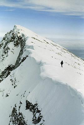 Climber Approaches False Summit Art Print by Gordon Wiltsie