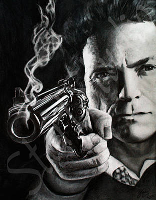 Dirty Harry Drawing - Clint Eastwood Drawing by Jamie Pickering