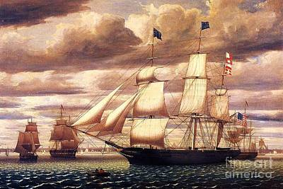 Painting - Clipper Ship Leaving Boston Harbor by Pg Reproductions