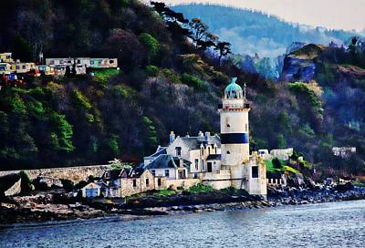 Digital Art - Cloch Lighthouse Gourock Scotland by Carrie OBrien Sibley