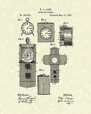 Clock Cover 1887 Patent Art Art Print