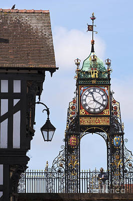 Clock In Chester Art Print by Andrew  Michael