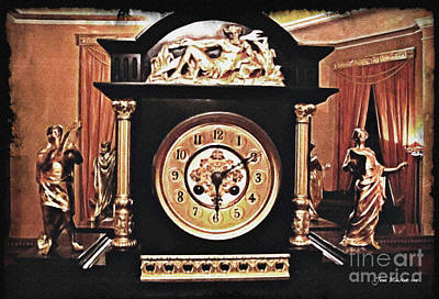 Photograph - Clock Mantle by Joan  Minchak