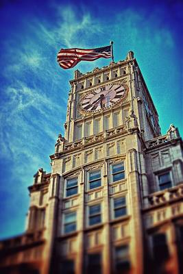 Print featuring the photograph Clock Tower In Downtown Jackson 1 by Jim Albritton