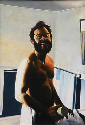 Man Painting - Close Shave - Oil On Canvas by Dave Martsolf