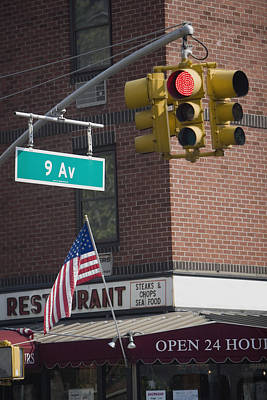 Close-up Of A Traffic Light, Ninth Avenue, Manhattan, New York City, New York State, Usa Art Print by Glowimages
