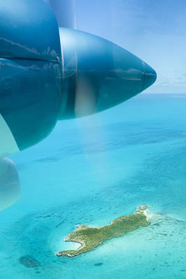 Y120817 Photograph - Close Up Of Airplane Propeller Flying Over Island by Lisa Romerein