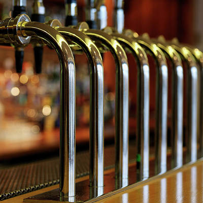 Close-up Of Bar Taps Art Print by Stockbyte