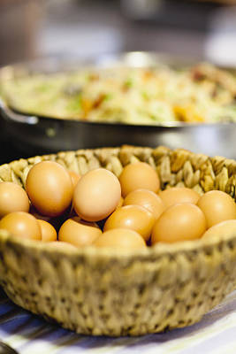 Y120831 Photograph - Close Up Of Basket Of Eggs by Hybrid Images
