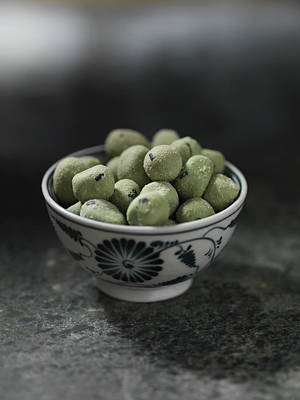 Close Up Of Bowl Of Wasabi Peas Art Print by Diana Miller