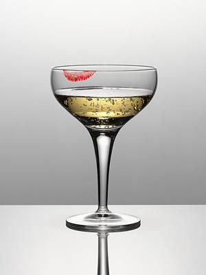 Photograph - Close Up Of Champagne In Glass With Lipstick Stain by Andy Roberts