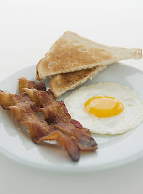 Sunny Side Up Photograph - Close Up Of English Breakfast, Studio Shot by Jamie Grill