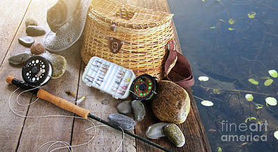 Close-up Of Fishing Equipment And Hat  Art Print by Sandra Cunningham