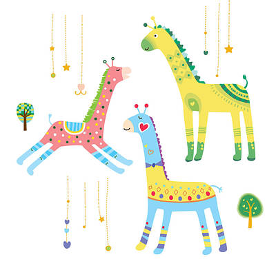 Close-up Of Giraffes Art Print by Eastnine Inc.